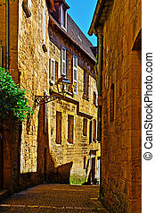 Sarlat - Deserted Street of the French City of Sarlat