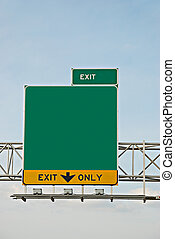 exit information in the highway with blank space