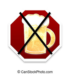 No Beer Golden Glass Design - No Beer