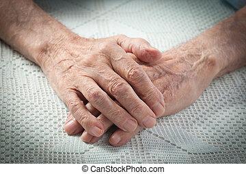 antigas, pessoas, segurando, lar, Idoso, mãos, cuidado