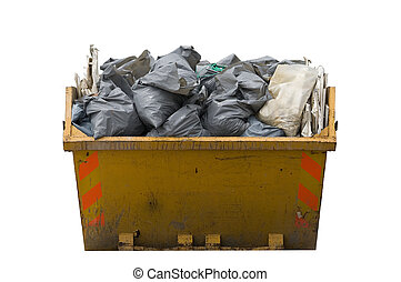 skip with refusetrash sacks isolated - a skip full of...