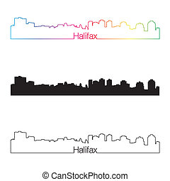 Halifax skyline linear style with rainbow in editable vector...