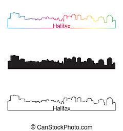 Halifax skyline linear style with rainbow in editable vector...