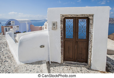 door in Santorini island