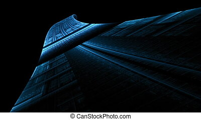 Abstract Blue Runway Stretching - futuristic blue runway...
