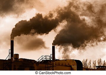 Industrial revolution - Dark smoke of an old factory