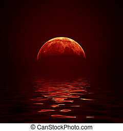Red moon reflected in a wavy water surface