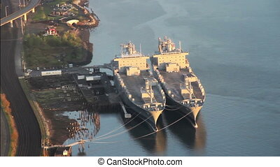 Navy Reserve Cargo Ships - Aerial - National Defense Reserve...