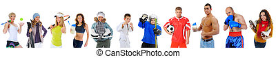The team of great athletes from different sports. isolated...