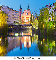 Romantic medieval Ljubljana, Slovenia, Europe. - Romantic...