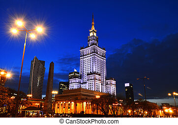 Palace of Culture and Science in Warsaw, Poland - Warsaw...