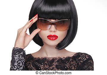 Summer portrait of an attractive young woman with sunglasses, beauty and fashion concept