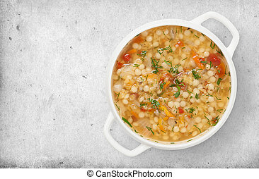 minestrone soup isolated on white background