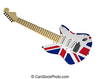 UK guitar - Electric guitar with UK flag, 3d render