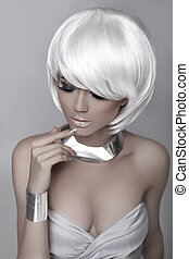 Beauty Fashion Woman Portrait. White Short Hair. Hairstyle....