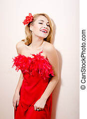 beautiful glamour young blond pinup woman happy smiling in...
