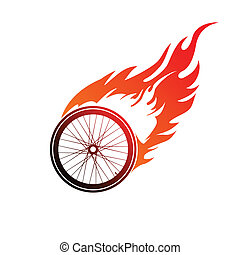 Burning symbol of a bicycle wheel - Red orange logo burning...
