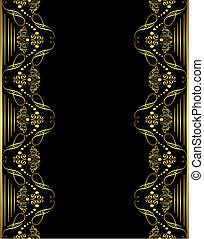 ornament gold frame - Oriental style ornament element and...
