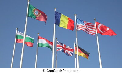 national flags of various countries against a blue sky -...