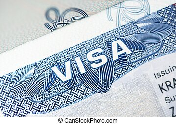 American Visa Closeup Photo. Visa Issued By American Embassy