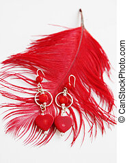 Earrings in silver and red coral