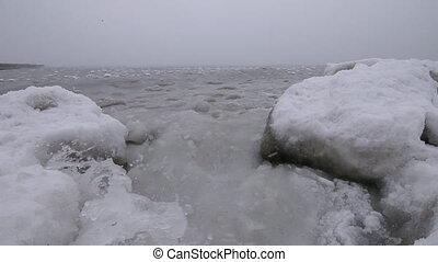 Arctic frozen ocean in the fog
