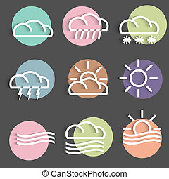 Vector set of colored weather Icons