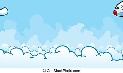 Jet Dive - A cartoon passenger jet dives into the clouds