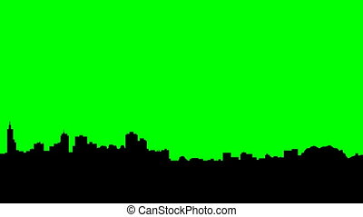 San Francisco Long Pan - Long pan of a skyline silhouette of...