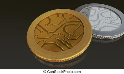 digital gold and silver coins pan - The digital currency...