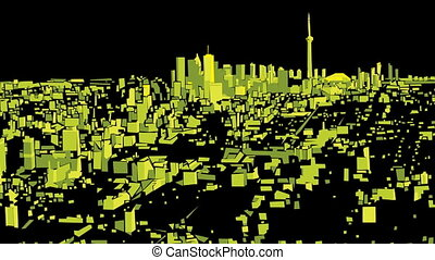 Toronto Night Flight - Flight over an abstract city of...