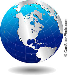 AMERICA  Silver Global World - Map Icon of the World Globe