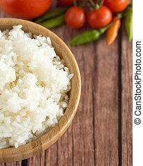 cooked Jasmine rice in bowl