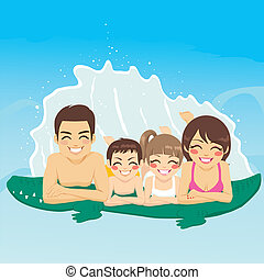 Crocodile Tube Family Vacation - Happy family lying down on...