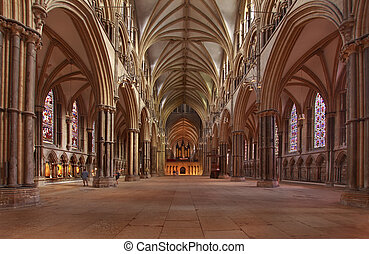 Lincoln Cathedral Nave - This interior view of the nave in...
