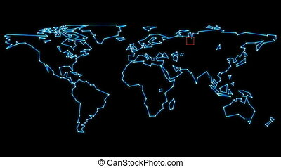 Retro Vector Track Map - Airline flight tracking world map...
