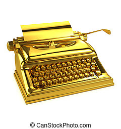 3d Gold typewriter - 3d render of a gold typewriter
