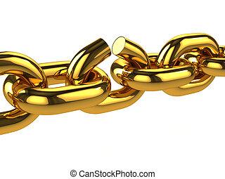 3d Broken gold chain - 3d render of a broken gold chain