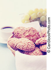 oatmeal cookies with coffee
