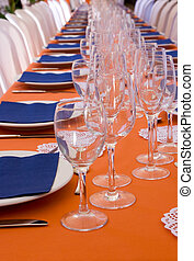 Table Setting - Orange and Blue Long Table Setting for...