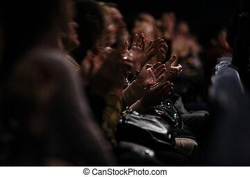 audiencia, Aplaudir, su, Manos