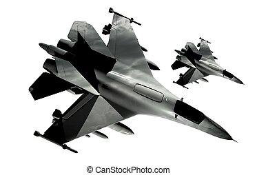 Fighter Jets Isolated - Two Fighter Jets Isolated on White...
