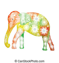 Watercolor cartoon elephant, cute vector illustration