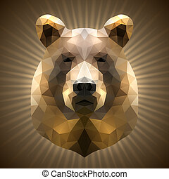 Polygonal Bear - Shining Bear in Triangular Style on a...