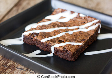 Delicious chocolate brownie - Brownies or cake bars covered...