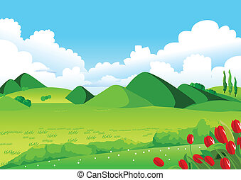 Blue Sky, Green Fields and Distant Hills - This illustration...