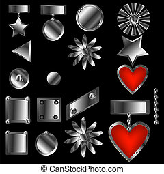 Set of decorative ornaments