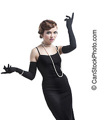 Woman in black dress gesticulating - woman in black dress...