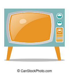 Retro Television - Vector illustration of old fashioned two...