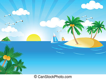 Sunny and Sea Vector Vector Illustration of Summer Tropical...